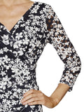 Gina Bacconi Navy/White Floral Printed Lace Dress (front view)
