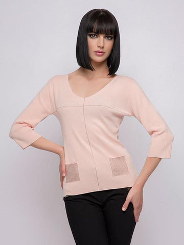 Passioni Apricot V-Neck Jumper With Sequin Patch Pockets