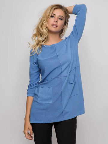 Passioni Blue Fine-Knit Tunic