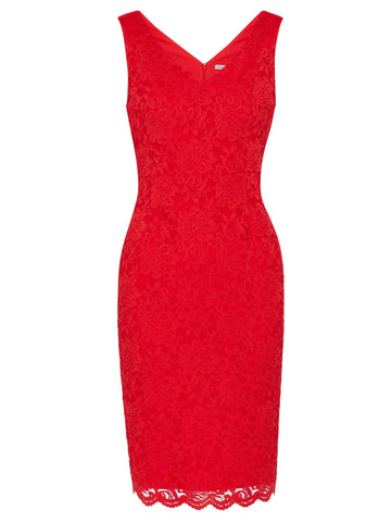 Gina Bacconi Hot Red Scallop Trim Lace Dress