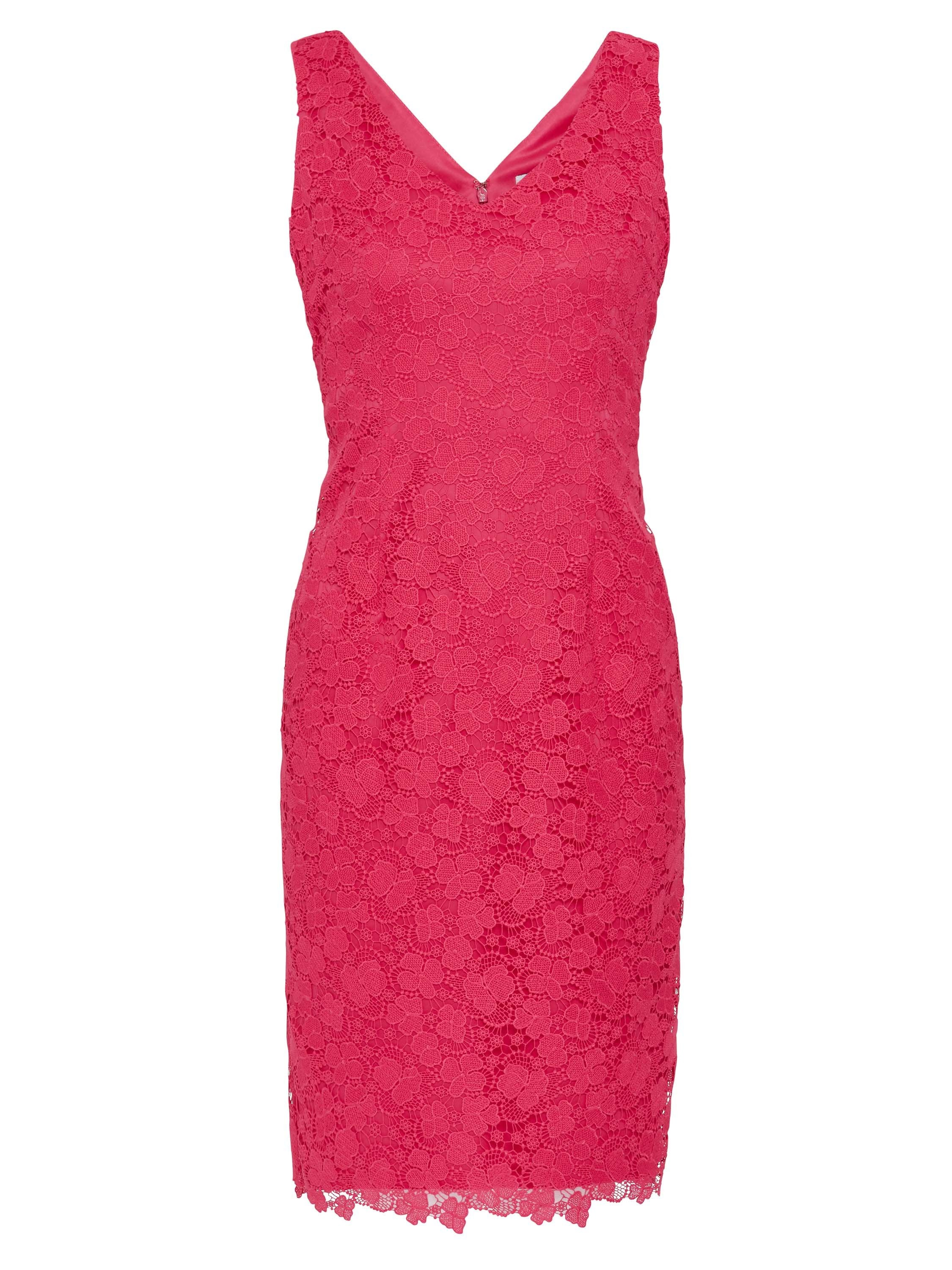 Gina Bacconi Fuchsia Scallop Trim Lace Dress