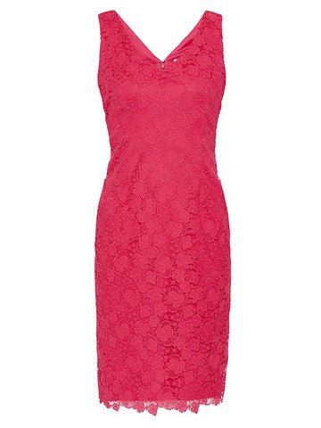 Fuchsia Scallop Trim Lace Dress