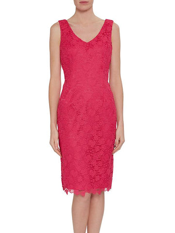 Rose Pink Scallop Trim Lace Dress