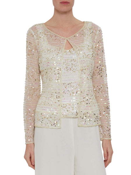 Cream beaded camisole and matching jacket