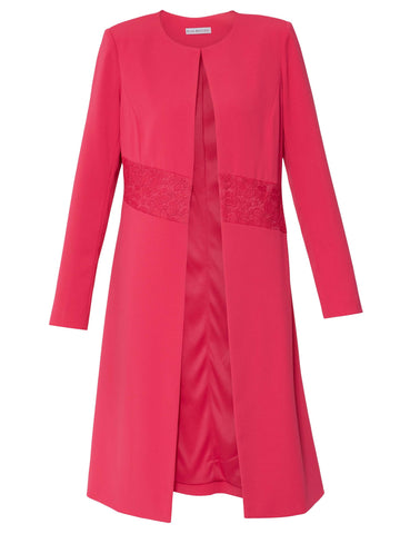 Gina Bacconi Fuchsia Collarless Lace Trim Edge To Edge Coat