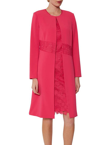 Rose Pink Collarless Lace Trim Edge To Edge Coat