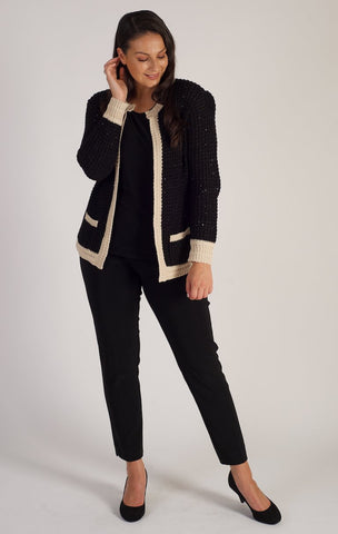 Passioni Black/Cream Cardigan With Cream Borders
