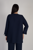Navy fine crinkle jacket with large eyelet trim