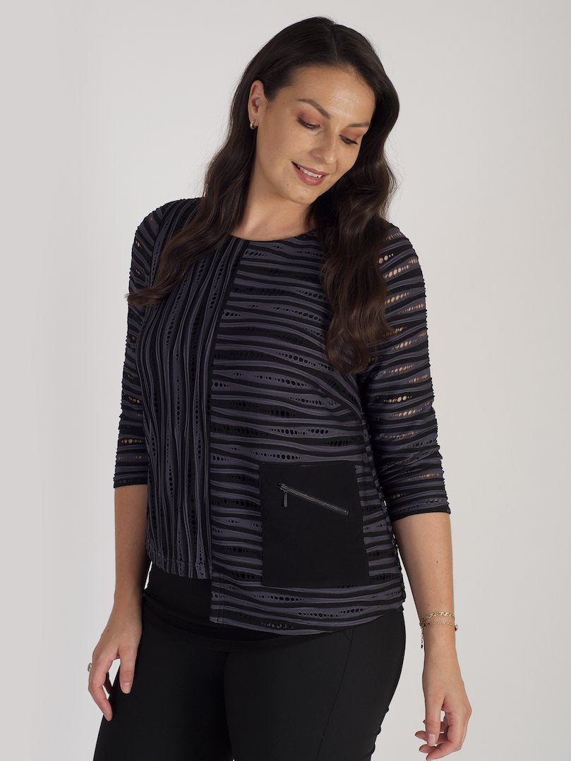 Black/Grey Textured Zip Pkt Jersey Top