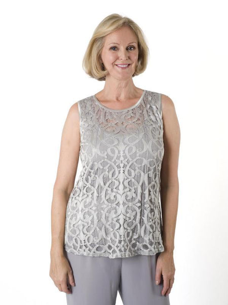 Silver Grey Stretch Lace Camisole