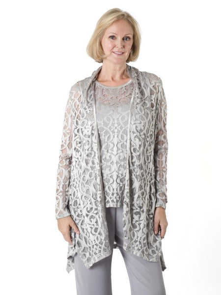 Silver Grey Stretch Lace Shrug-Model Front