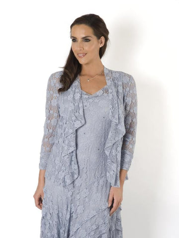 Silver Grey Stretch Lace Bead Trim Shrug