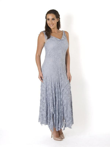 Silver Grey Stretch Lace Cinderella Bead Trim Dress