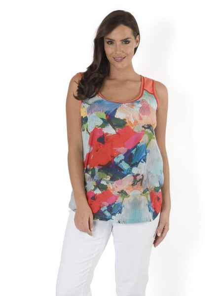 Sky & Coral Contrast Yoke Large Border Floral Cami