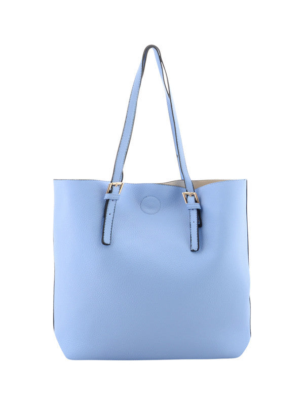 Soft Blue Buckle Detail Shoulder Bag