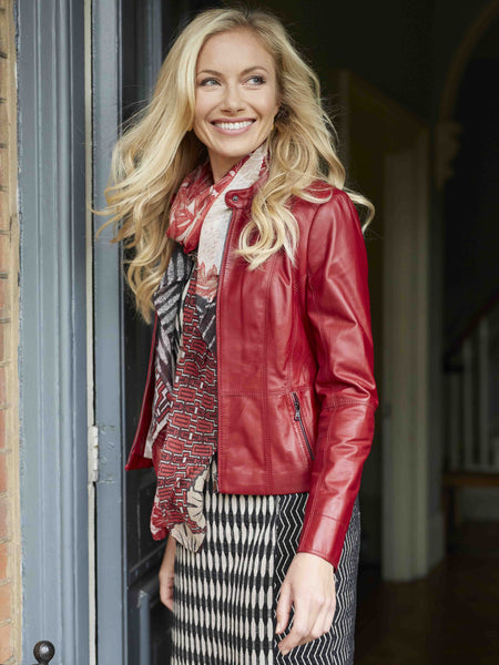 GERRY WEBER Red Leather Jacket