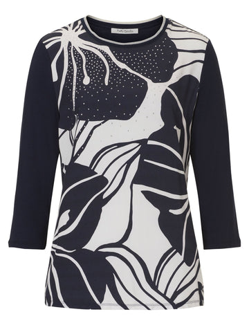 Betty Barclay Navy/Cream Front Print and Diamante Jersey Top