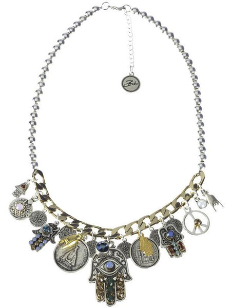 Tribal Silver Gold Chain Necklace J81Y129 alt1