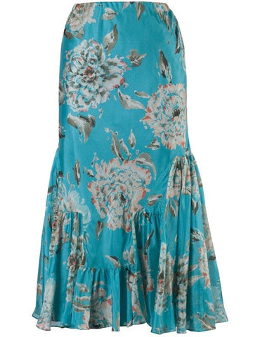 Turquoise Floral Print Skirt 30y303 alt1