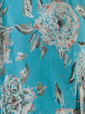 Turquoise Floral Print Skirt 30y303 alt3