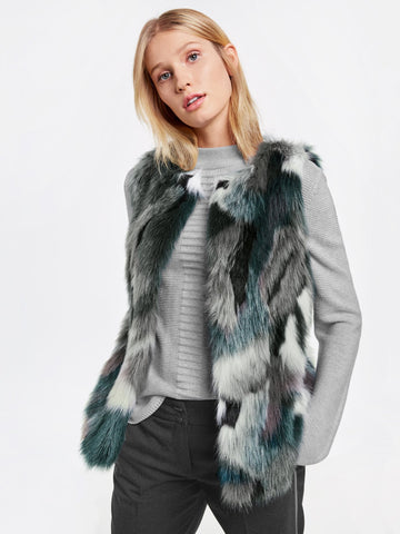 Gerry Weber Grey/Jade Multi Coloured Faux Fur Waistcoat