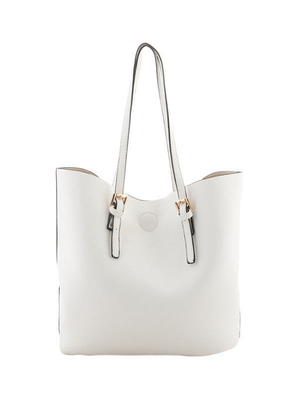 White & Gold Buckle Detail Shoulder Bag