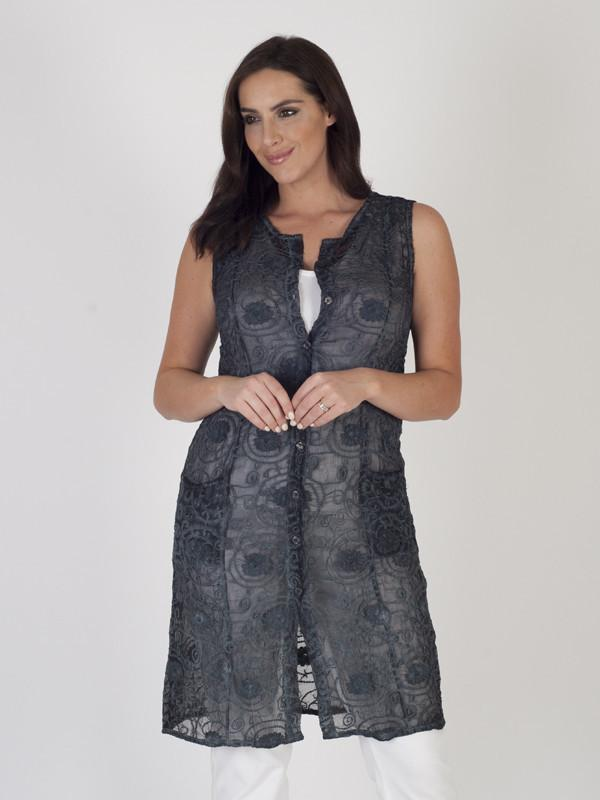 Charcoal Embroidered Georgette Sleeveless Coat