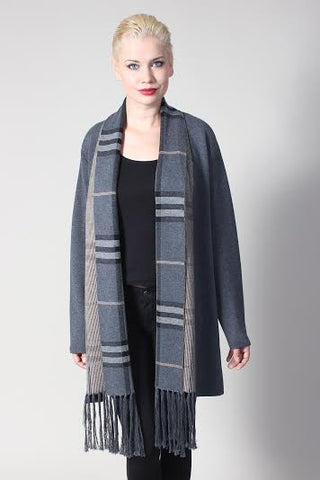 Grey Long line Plain Cardigan