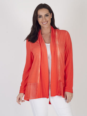 Vetono Orange Jersey Garment Dye Cardigan