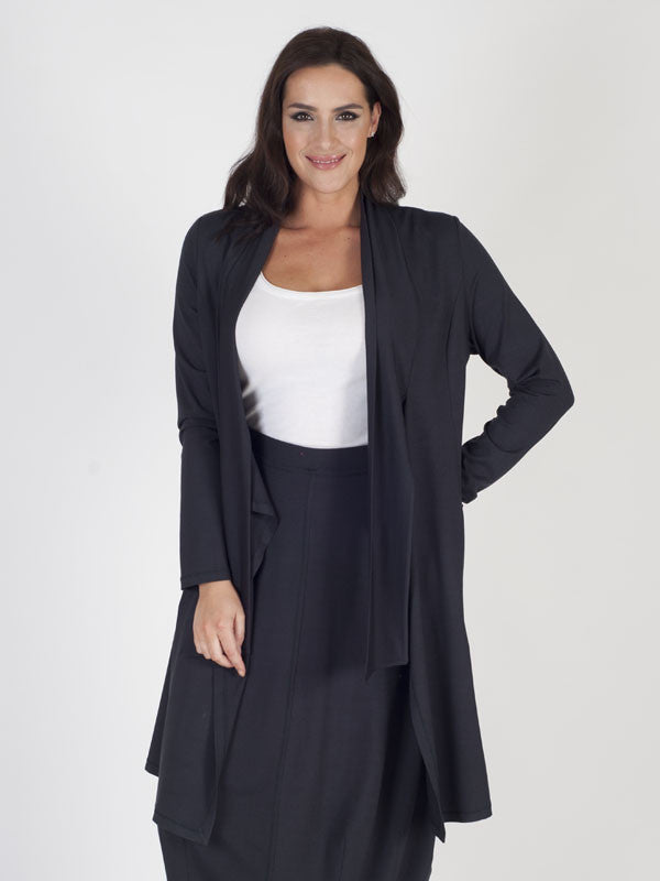Charcoal Tie Front Jersey Cardigan