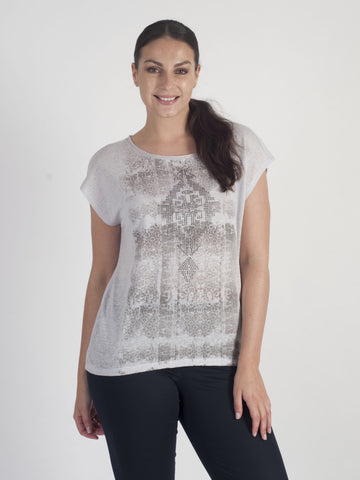 Vetono Grey Printed Top
