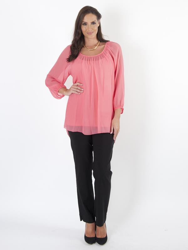 Coral Long Sleeve Chiffon Blouse