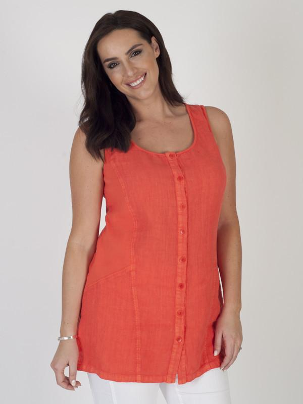 Orange Linen and Jersey Ribbed Mixed Tunic