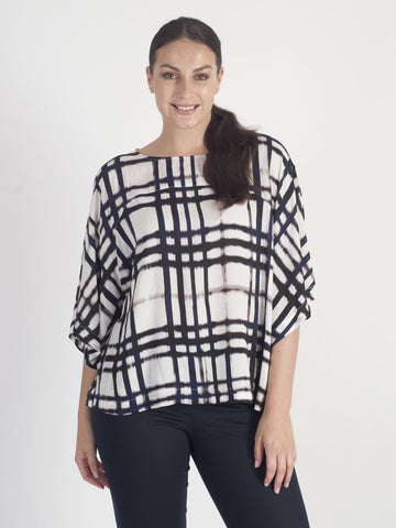 Vetono Deep Blue Checked Woven Top