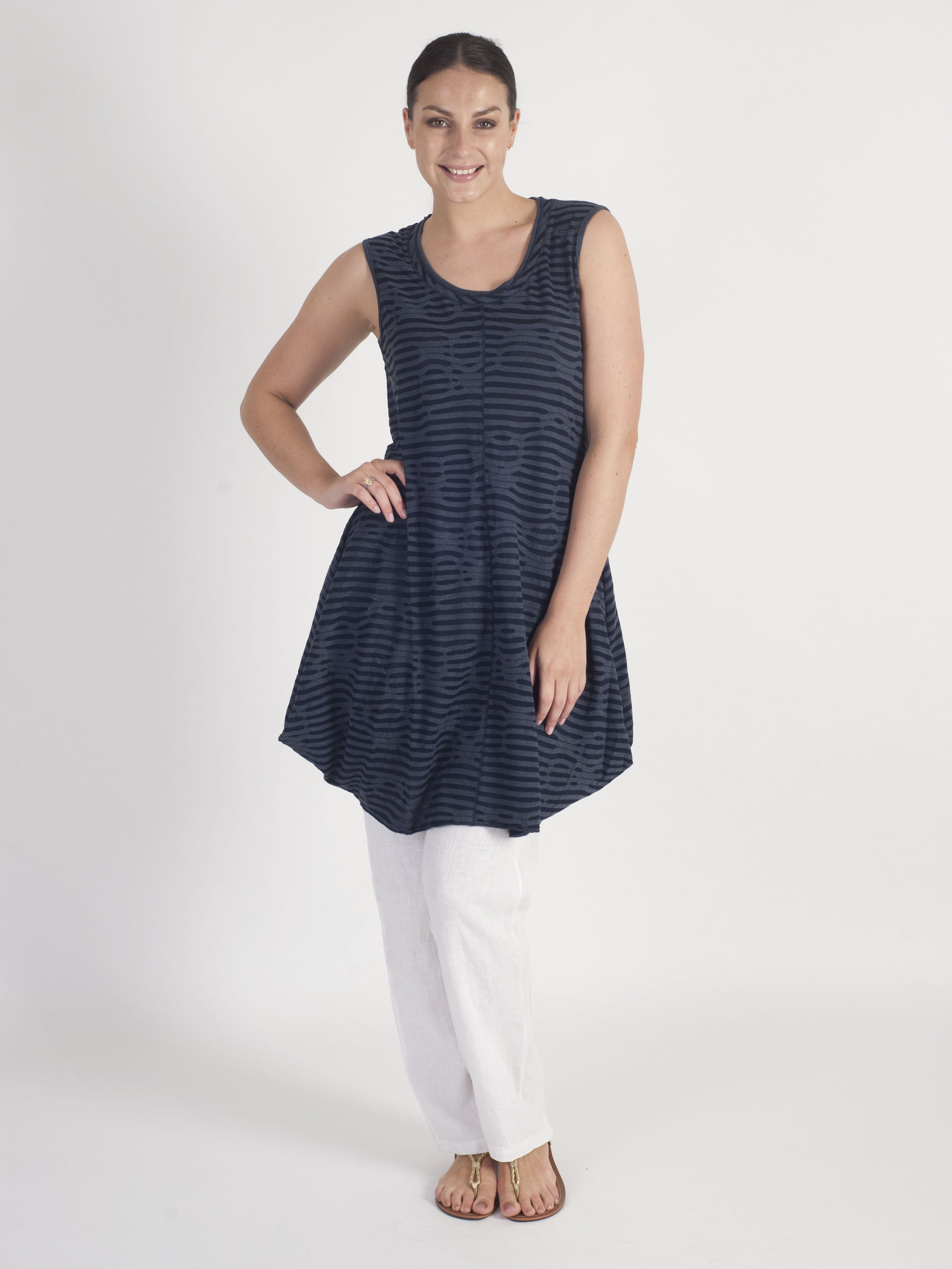Vetono Navy Burnout Stripe Tunic