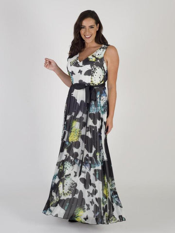 Multi/Black Butterfly Maxi Pleat Dress