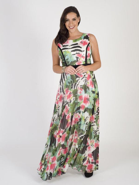 Multi/Pink Tropical Printed Pleat Maxi Dress