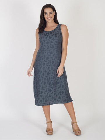 Navy Jacquard Sleeveless Dress