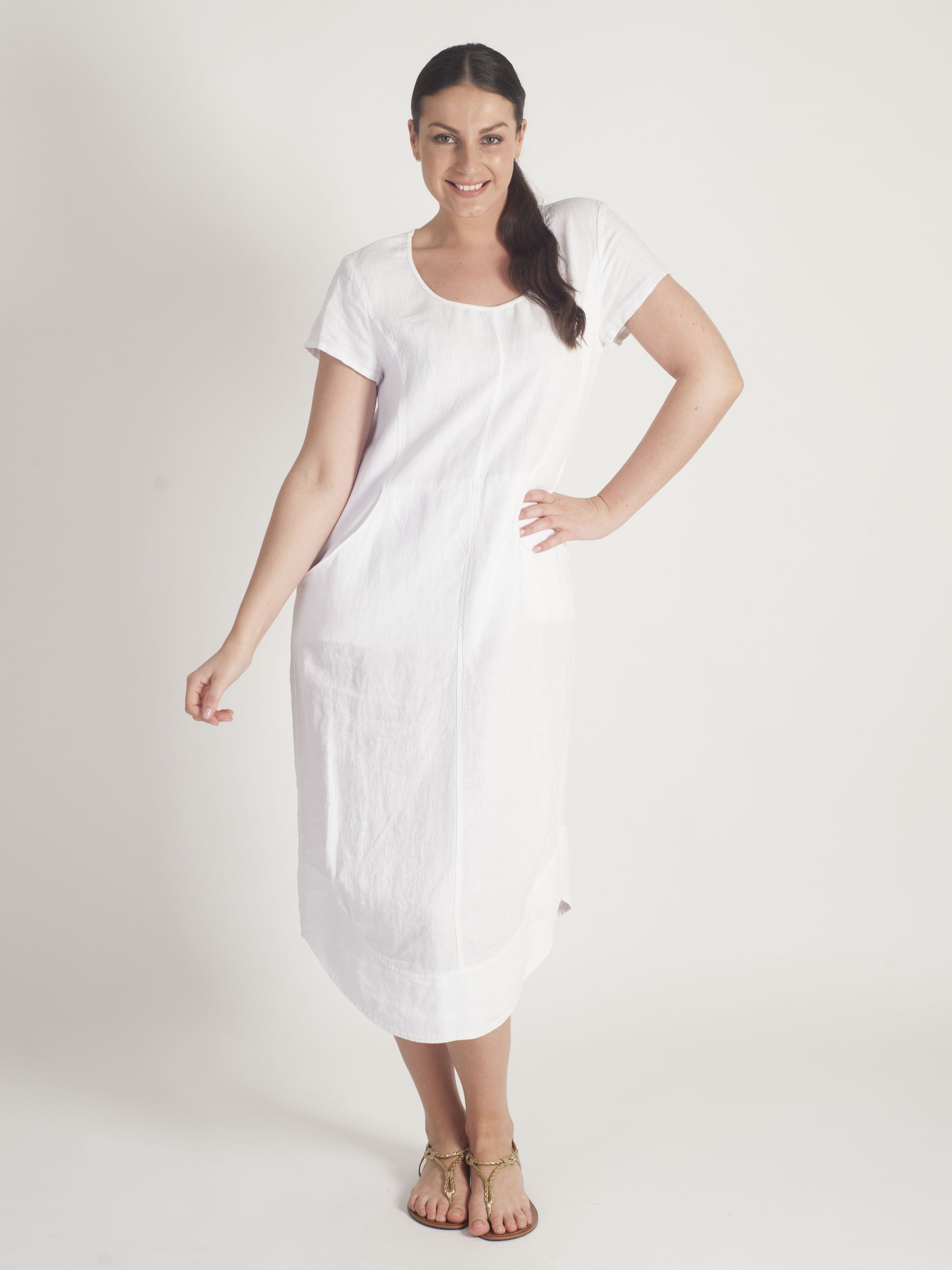 34ce160129 chesca Vetono White Linen Dress