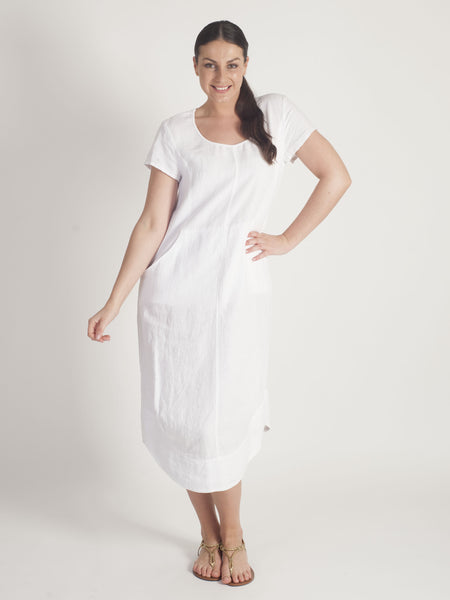 Vetono White Linen Dress