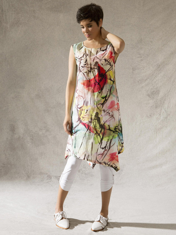 Vetono Printed Linen Dress