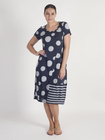 Vetono Navy Spot Dress