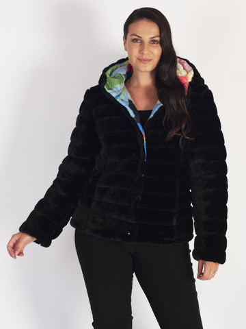 Black Fur Lined Vibrant Print Short Reversible Hooded Quilted Jacket