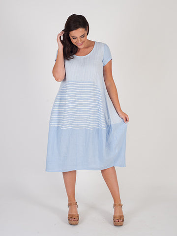 Sky Blue Mixed Stripe Linen Dress