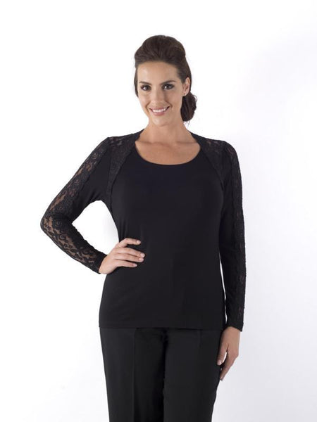 Black Lace Trim Long Sleeve jersey top