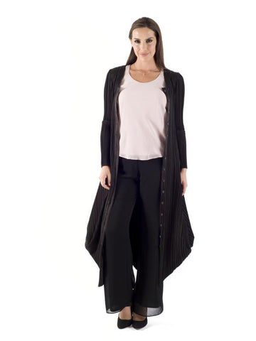 Black Satin Crush Pleat Drape Hem Coat