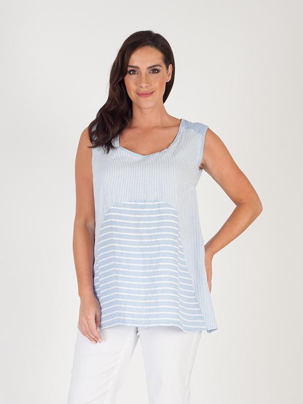 Sky Blue Mixed Stripe Linen Camisole
