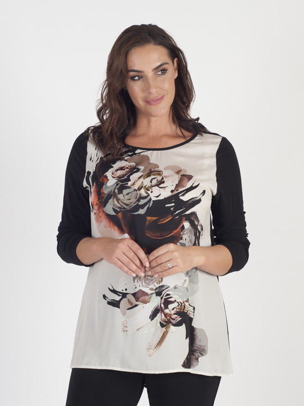 Michaela Louisa Floral Placement Print Top With Black Jersey