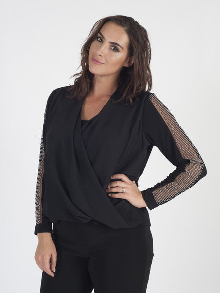 Michaela Louisa Black Twist Front Top With Beaded Sleeve Detail
