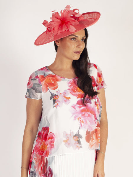 Coral Medium Hatinator With Feather & Quill